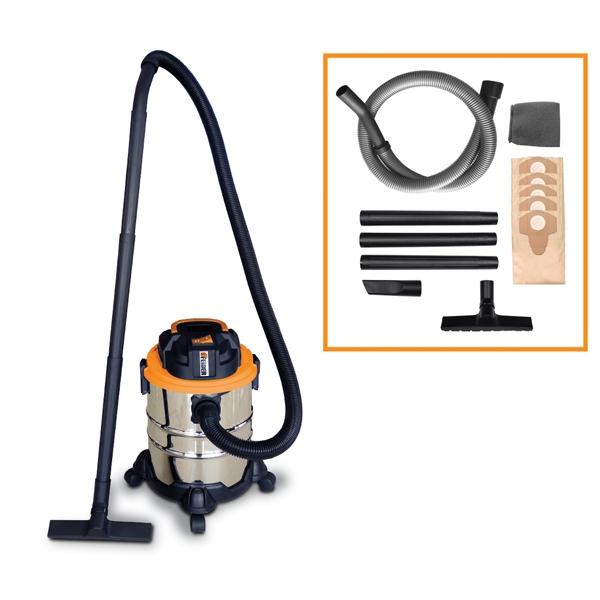 Aspirateur eau et poussière  1250 W 20 L - Cuve Inox FHAEP1220L5S - SWAP-europe.com