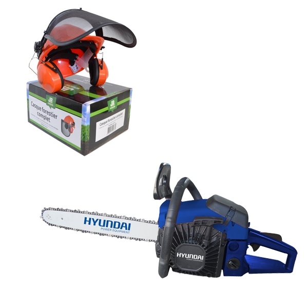 Petrol chainsaw 52 cm³ 50 cm - Guide and chain Hyundai 0.325 HTRPRO52CF - SWAP-europe.com