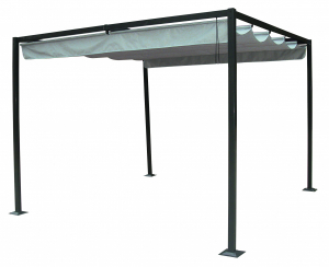 STEEL/POLYESTER GAZEBO WITH SLIDING ROOF 2.92X2.94XH2.25M 862057 SWAP-europe.com