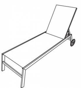 Chaise longue en acier textilene, avec roues BCL-0051 TAUPE SWAP-europe.com
