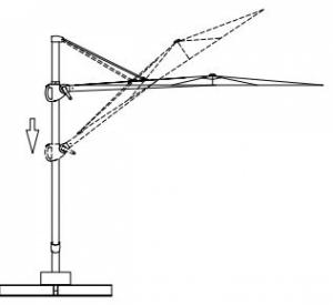 Parasol suspendu en aluminium 2.5x2.5M BCU-0112 TAUPE SWAP-europe.com