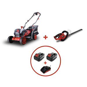 PACK Taille Haie 20V + Tondeuse 2x20V - 2 Batteries 4Ah + Chargeur  EZPACK5 SWAP-europe.com