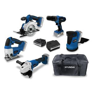 Pack d'outils 18 V Perceuse + Scie sauteuse + Meuleuse + Scie circulaire + Ponceuse excentrique + batteries 2 & 4 Ah HPACK18524 SWAP-europe.com