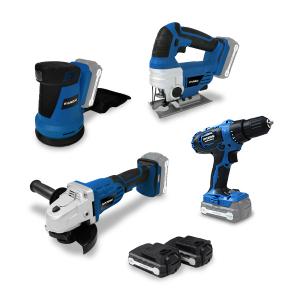 Pack d'outils 18 V - Perceuse + Meuleuse + Scie sauteuse + Ponceuse HPACK18V4 SWAP-europe.com