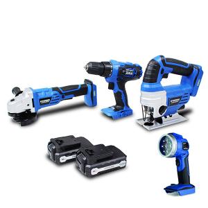 4 Tools pack 18V -  Drill - Jig Saw - Angle Grinder - Lamp HPACKL18V SWAP-europe.com