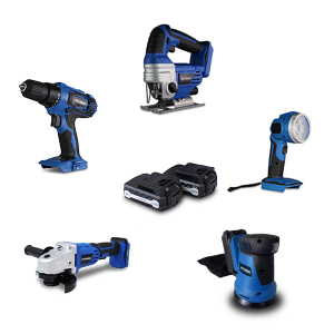 5 Tools pack 18 V - Drill - Jig saw - Angle grinder - Sander - Lamp  HPACKM185 SWAP-europe.com