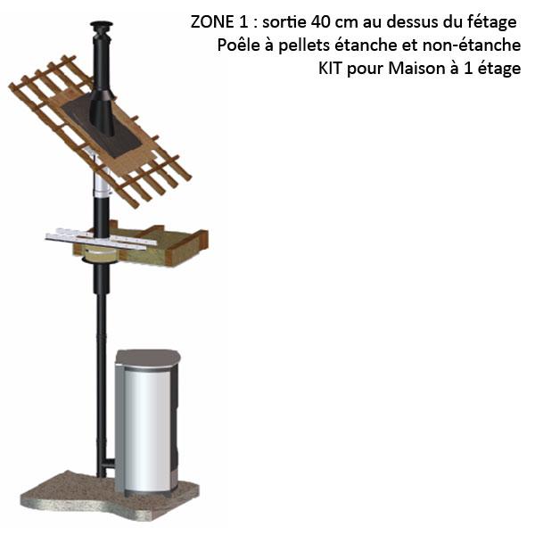 Kit fumisterie raccordement émaillé diam 80 évacuation fumées diam 100 création de conduit ZONE 1 Etage 20266062 Pièce détachée SWAP-europe.com